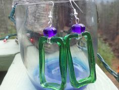 upcycled mini jagermeister glass earrings by FullCircleglassware, $18.00