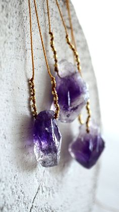 The Pohaku Purple necklace. Hand-knotted glass and amethyst on cord. By Kahili Creations of Hawaii...