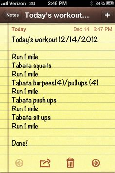 Today's workout.