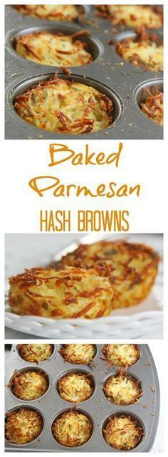 Easy parmesan hash browns baked in muffin cups for crispy edges and soft centers. Prep the night before and bake in the morning for breakfast or brunch. appetizers brunch Parmesan BAKED Hash Browns in the Oven Menu Brunch, Brunch Appetizers, Brunch Drinks, Brunch Food, Sunday Brunch, Brunch Buffet, Easter Brunch Menu, Brunch Dishes, Brunch Salad