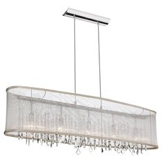 "Shaded Light Design 5-Light 44"" Chrome Crystal Linear Chandelier Pendant with an Organza Shade SKU# 10581  $677.50 - Oval shade in Oyster with all swarovski crystals"