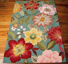 "Amazon.com - Nourison Country & Floral Rectangle Area Rug 3'6""x5'6"" Aqua Fantasy Collection -"