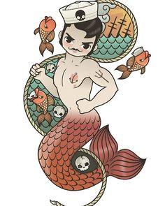 Fishing is over!  #kawaii #sailor #merman #triton #illustration #moustache #tattoo #vintagestyle #oldschooltattoo #art