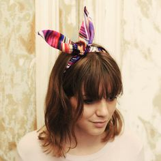 Spike digitally printed bendable wire bow headband. Cute and chic hair tie accessory. Head wrap in lightweight fabric.
