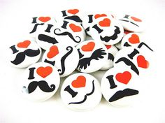 Mustache Love and Hearts buttons. Perfect party favors! #etsy #diy #mustaches