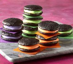 Recipe: Black Velvet Whoopie Pies with Orange, Green or Purple Filling (using cake mix) - Recipelink.com