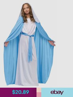 Franco American Novelty's Girls Deluxe Mary Costume includes a long white dress with attached blue belt and a cape. Halloween Costumes For Girls, Christmas Costumes, Baby Costumes, Easter Costumes, Children Costumes, Halloween Club, Purim Costumes, Trendy Halloween, Ballet Costumes