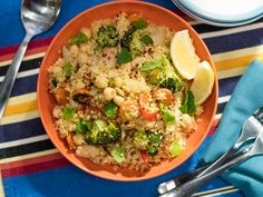 Get Cheat Sheet Roasted Vegetable Couscous Recipe from Food Network Veggie Dishes, Vegetable Recipes, Vegetarian Recipes, Healthy Recipes, Side Dishes, Main Dishes, Vegetarian Dinners, Vegetable Stock, Side Recipes