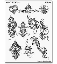 Akiyo Henna Tattoo Designs | Body Art Stencils | Mehndi