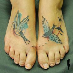 Feet Swallow Tattoo Design