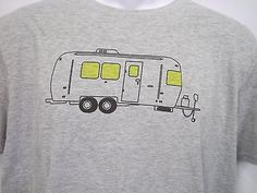Men's Vintage AIRSTREAM CAMPER T SHIRT. Gray and White with black print.