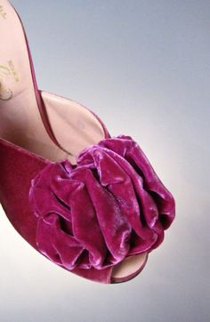 #Vintage Lush Gimbel Brothers Rose Plum Velvet Peep-Toe House #Slippers c. 1930's