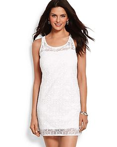Tommy Bahama - Crochet Lace Short Tank Dress