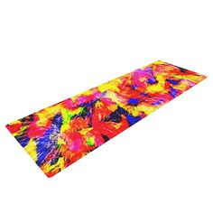"""Ebi Emporium """"The Flock"""" Yellow Red Yoga Mat"""
