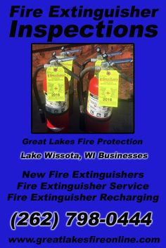 Fire Extinguisher Inspections Lake Wissota, WI (262) 798-0444 Local Wisconsin Businesses Discover the Complete Fire Protection Source.  We're Great Lakes Fire Protection.. Call us today!