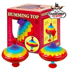 NEW METAL HUMMING SPINNING TOP 16CM - Large Colourful Rainbow Traditional Toy