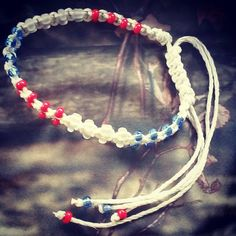 Only a few more left in stock! USA Patriotic Anklet - Glass Bead Hemp Anklet -  American Theme Jewelry - Red, White, and Blue - Adjustable Jewelry - Shamballa Jewelry Shop now:  https://www.etsy.com/listing/398043789/usa-patriotic-anklet-glass-bead-hemp?utm_campaign=crowdfire&utm_content=crowdfire&utm_medium=social&utm_source=pinterest