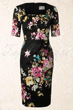 The Pretty Dress Company - Atlanta Dress in The Black Seville Floral Print