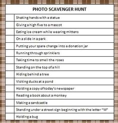 Thought Scavenger hunt lists for teens