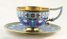 Russian Silver and Plique A Jour Enamel Tea Cup | eBay