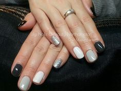 CND Shellac Blackpool, Asphalt, Cityscape, Studio White and then silver glitter on the pinky
