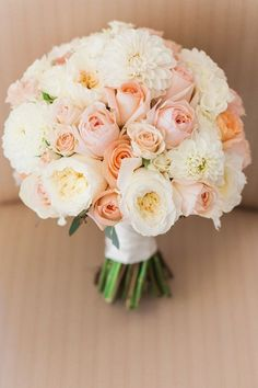 This is a great visual reference for the Bride's bouquet. Vicky loves this bouquet of white & blush colors and how compact it is. We would like her bouquet to look similar to this one. Summer Wedding Bouquets, Bride Bouquets, Floral Wedding, Peach Weddings, Peach Wedding Theme, Bouquet Wedding, Wedding Ceremony, Wedding Stage, Trendy Wedding