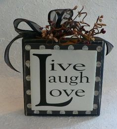 wood block ideas | ... wood block sign by huckleberrylady on etsy live laugh love wood block