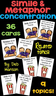 Simile and Metaphor Concentration Game- Students have to determine whether each sentence card contains a simile or a metaphor. A fun Memory Game to practice identifying these two types of figurative language!