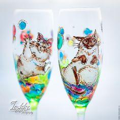 """Купить Бокалы свадебные - """"ми_ми_ми"""" - комбинированный, бокалы свадебные, бокалы для молодоженов, бокалы для шампанского"""