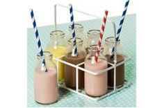 Panier de 6 mini bouteilles de lait en verre style retro - Modern Confetti
