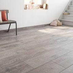 Carrelage sol et mur gris effet bois Heritage l.20 x L.80 cm