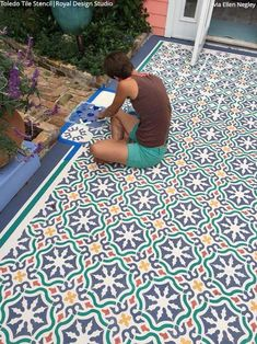 Toledo Tile Stencil Tile Stencils for Walls, Floors, and DIY Kitchen Decor – Royal Design Studio Stencils Painting Tile Floors, Painting Concrete, Painted Floors, Painted Rug, Stencil Concrete, Concrete Patio, Tile Stencils, Painted Concrete Porch, Stenciling