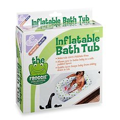 Give baby a safe place to bathe with this soft inflatable froggie tub. The…