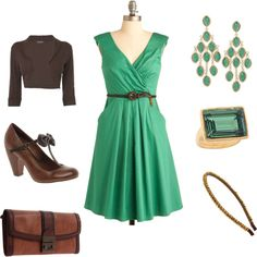 Green and Brown, created by jennalevin on Polyvore