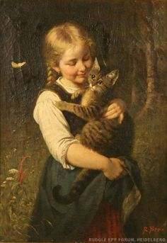Girl with a Cat, by Rudolf Epp (German, 1834 - 1910)