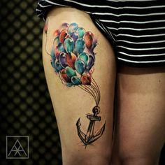Significado Completo da Tatuagem de Âncora | balões na perna