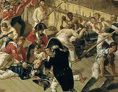 Admiral Lord Horatio Nelson is mortally wounded at The Battle of Trafalgar by a French marksman, shortly after 1 pm. He died some hours later at 4.30 pm below deck when he heard victory was secured.