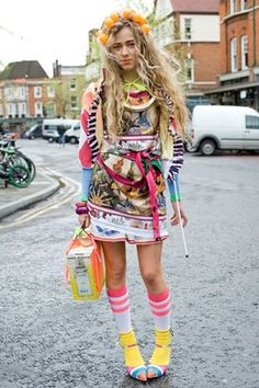 Clownish clashing prints British street fashion at its best pile it on,more is more!