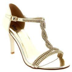 Womens T-Bar Open Toe Prom Wedding Bridal Bridesmaid Mid Heels Sandals - Gold - 7 - 38 - CD0173G