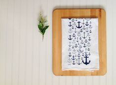 Tea Towel - Nautical Anchor Navy Blue Kitchen Flour Sack Eco Friendly Dish Cloth Sailing Summer Decor by KitchStudios on Etsy