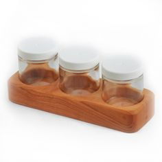 Waldorf Wooden Paint Jar Holder. Made in Maine from solid Cherry wood. Available in 3-Jar and 6-Jar sizes.