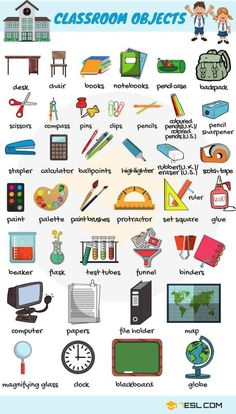 Learn English names of classroom objects, items that you can find in a classroom. This lesson is useful for ESL learners and English students to improve their classroom and school vocabulary in English. Learning English For Kids, Kids English, English Language Learning, English Study, Teaching English, French Language, Kids Learning, English Vocabulary Words, English Phrases