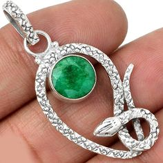 This listing is for  Adorable Genuine Indian Emerald Pendant, 925 Silver that you see in these photos. Emerald is 9 mm in diameter. Total length is 4.5