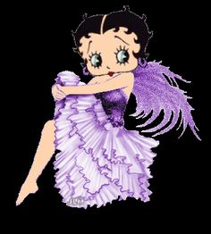 Betty Boop is an animated cartoon character created by Max Fleischer, with help… Purple Love, All Things Purple, Purple Stuff, Imagenes Betty Boop, Gifs Lindos, Black Betty Boop, Boop Gif, Animated Cartoon Characters, Cartoon Art