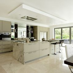 Want traditional kitchen decorating ideas? Take a look at this neutral kitchen with granite worktops and mirrored splashback from Beautiful Kitchens for inspiration. Find more kitchen ideas at housetohome.co.uk