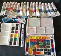 filling of the entire sakura koi box with camel and daler rowney watercolour paints. now I have 42 colors palette instead of 24.. yeeeyyyy with 12 more additional colours in daler rowney pocket travel box,,, :D