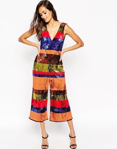 ASOS   ASOS Jumpsuit in All Over Sequin Stripe at ASOS