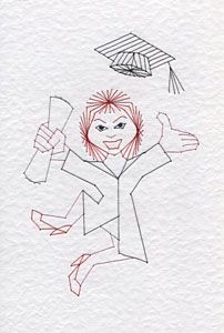 A female graduation student pattern has been added to the Stitching Cards collection. The design features a female student holding a diploma and jumping for joy. Female graduation student: www.stit…