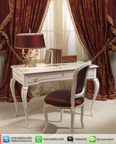 Louis Working Table and Chair White-Gold Mustaqim. #Kursi dan #MejaKerja Mahoni gaya Louis.  We send it worldwide. Please contact us via: BBM : 7658A033 Call WA : 6281908021000 Inquiry : info@nusamebel.com Website : nusateak.com [en] / nusamebel.com [id]  #NusaMebel #Mebel #Meuble #MebelJepara #FurnitureJepara #MebelRumah #OfficeFurniture #ReproductionFurniture #MejaJepara #MejaJati #KursiJati #FurnitureDesign #FurnitureInterior #LouisTable #LouisChair #WorkingTable #WorkingDesk #KursiJepara…