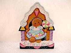 """Gingerbread Fridge Magnet or Shelf Sitter - Ginger in Candyland Designed by Pamela House. Painted by """"me""""."""